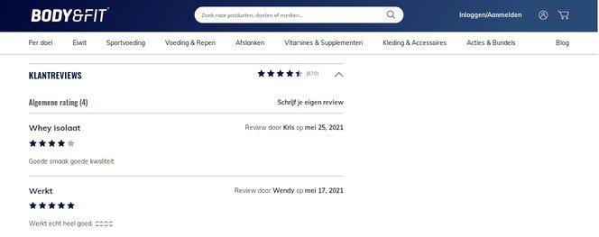 Review Whey Isolate Perfection van Body en Fit beoordeling