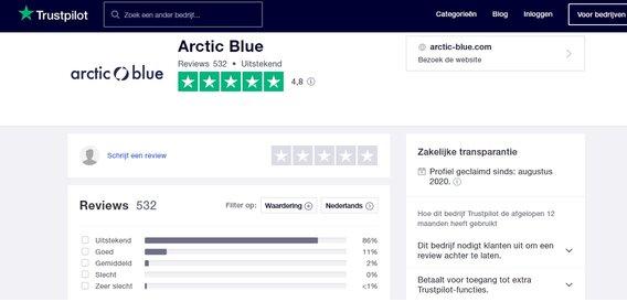 Review Pure Alaska MSC Visolie Capsules van Arctic Blue trustpilot